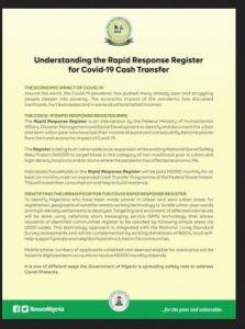 Rapid Response Register (RRR) Stimulus Package For Covid-19 Cash Transfer
